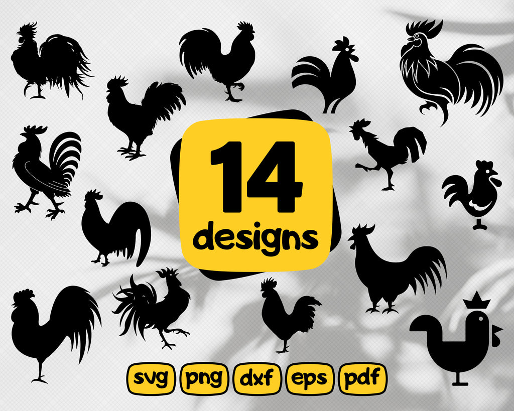 Rooster SVG Bundle, Rooster SVG, Rooster Clipart, Rooster Cut Files For Silhouette, Files for Cricut, Vector, Chicken Svg, Dxf, Png, Design