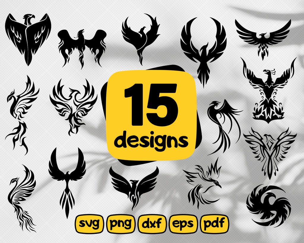 Phoenix SVG cutting files for Cricut and Silhouette Cameo - Phoenix png clipart - Phoenix dxf vector files