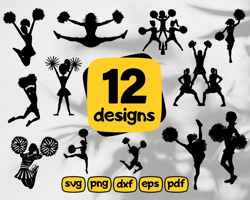 Cheerleaders svg, Cheerleaders Silhouettes, Cheerleaders svg, Cheerleaders , SVG files for Silhouette Cameo or Cricut, vector, .svg, dxf eps