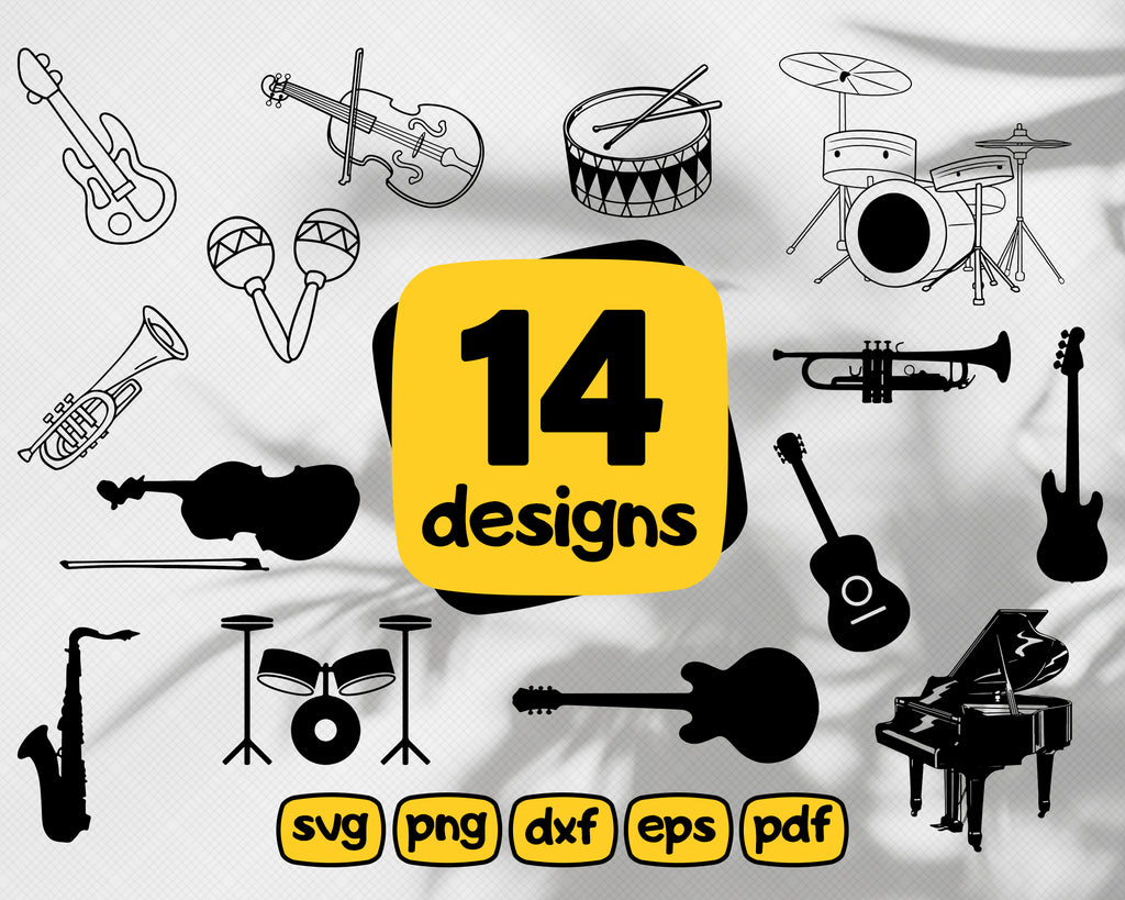 Music instruments svg, Music instrument SVG, Music Instrument bundle SVG, Guitar SVG, Cello Svg, Violin Svg, Drums Svg, Instant download