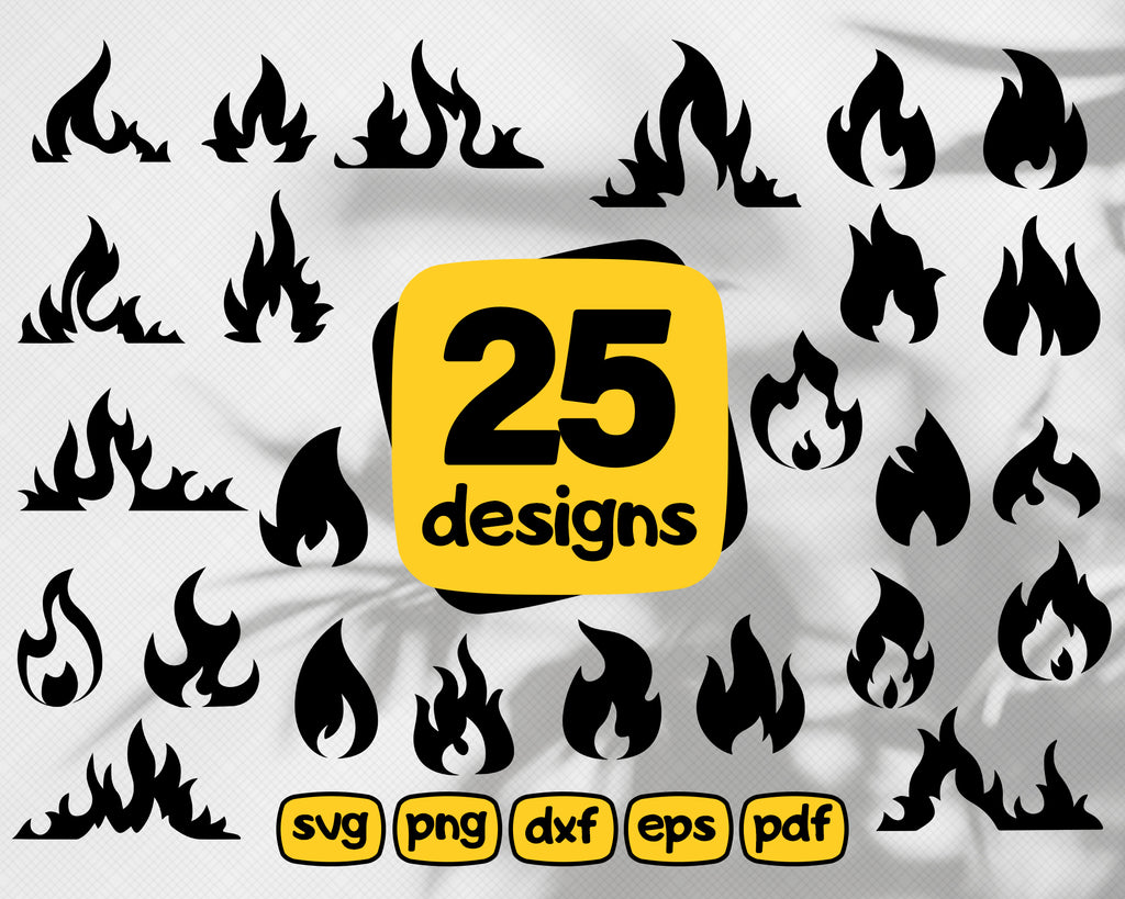 Flame SVG Bundle, Flame SVG, Flame Clipart, Flame Cut Files For Silhouette, Files for Cricut, Flame Vector, Fire Svg, Dxf, Png, Eps, Design