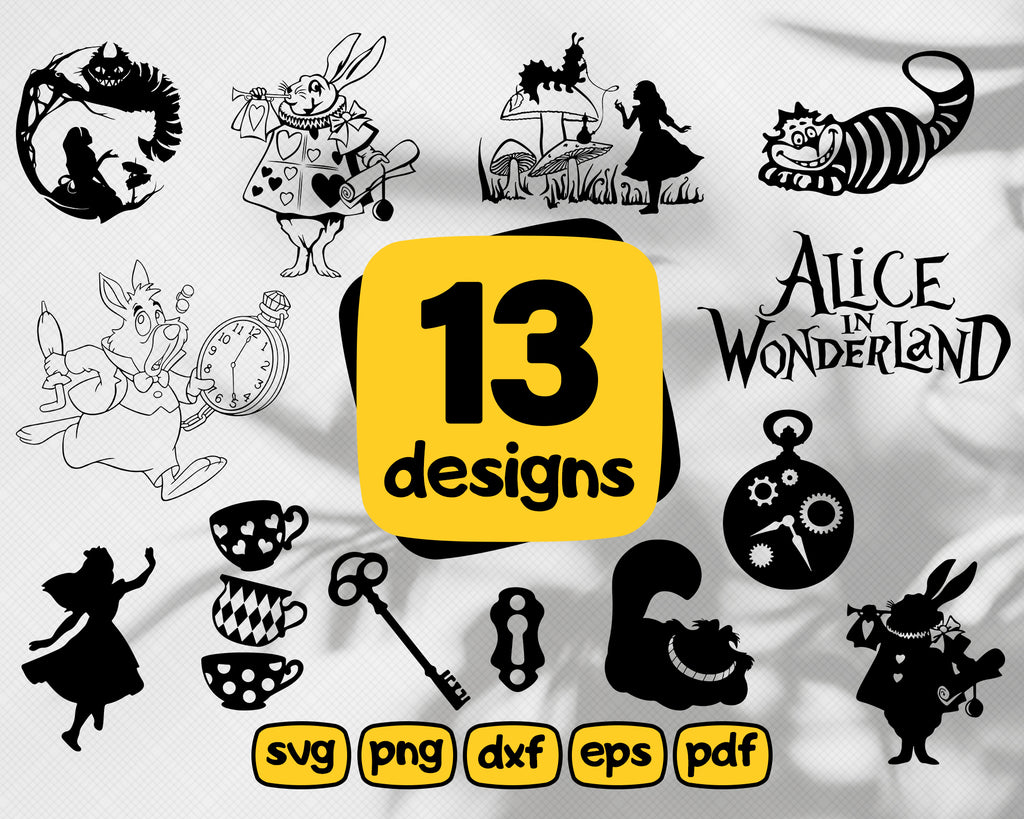 ALICE IN WONDERLAND svg, alice in wonderland, alice svg, wonderland svg, alice silhouette, alice clipart, alice vector, alice cut files,svg