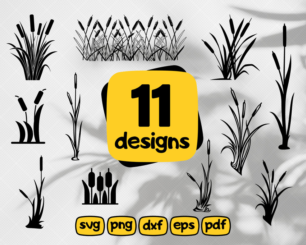 CATTAILS SVG, cattails, bulrush plant svg, cattail svg, grass svg, cattail, cattails svg file, lake svg, cattail plant svg, cattails dxf