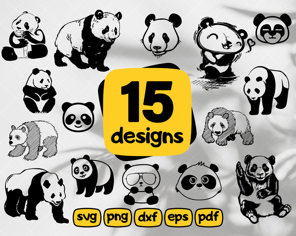 Panda SVG, Cute Panda SVG, Cartoon Panda Svg, Panda Clipart, Panda Files for Cricut, Panda Cut Files For Silhouette, Dxf, Png, Eps, Vector
