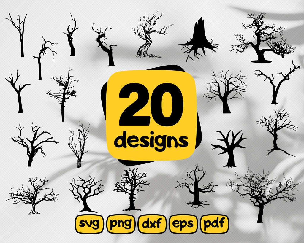 Dead tree svg,Dead Trees silhouettes bundle SVG | 50 spooky halloween trees svg designs | printable | cut files | cricut | silhouette studio