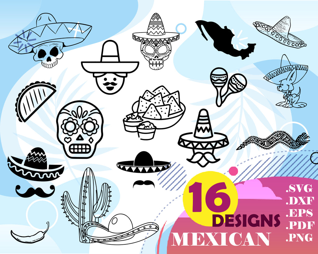 Mexican svg, Sombrero Mexico Mexican Hat Cuttable Design SVG PNG DXF & eps Designs Cameo File Silhouette