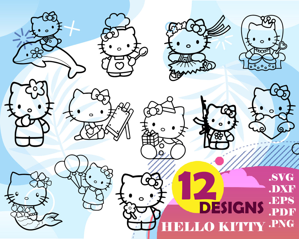 Hello kitty svg, Hello Kitty SVG, Kitty Cut File, Kitty SVG, Kitty PNG, files For Silhouette, Hello Kitty Eps,Cute Svg, Cut File Clipart