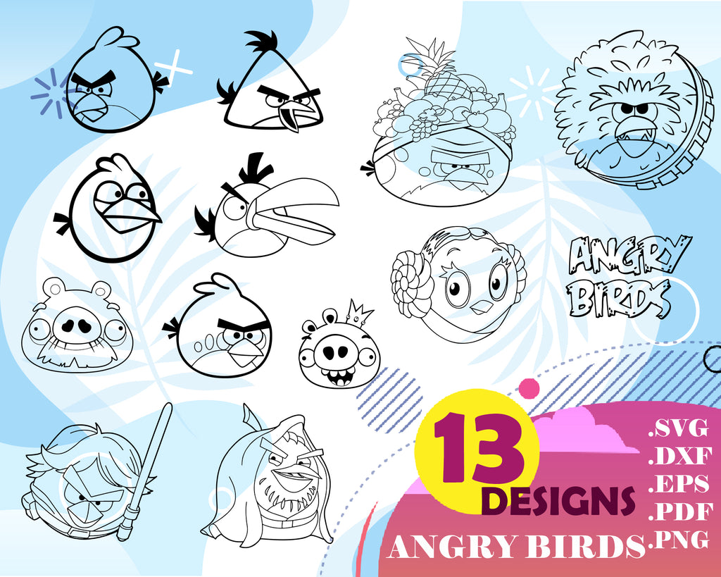 Angry birds svg,Angry Birds Clipart, svg png eps, cricut cutting file vector file printable silhouette, instant digital download