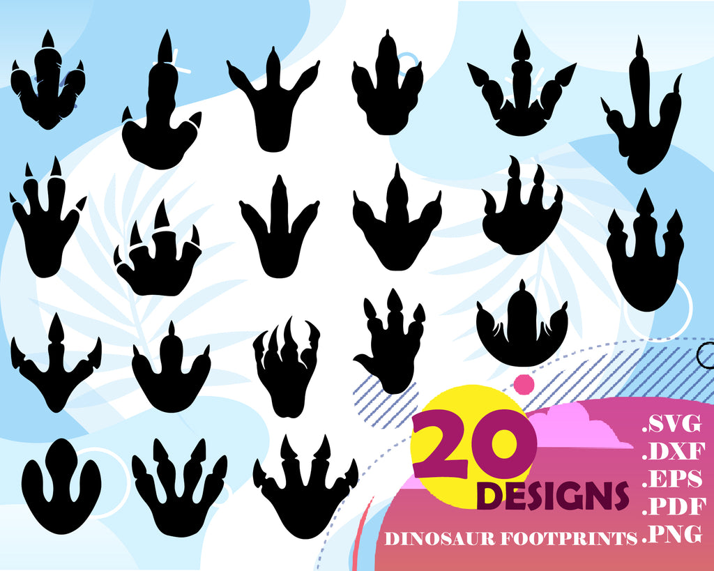 Dinosaur foortprint svg, Dinosaur Footprint SVG Bundle, Svg file for cricut, Design Elements, Dinosaur print Vector image, Dinosaur clip art,png, dxf esp Trex