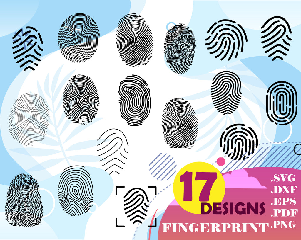 Fingerprint SVG Bundle, Fingerprint SVG, Fingerprint Clipart, Cut Files For Silhouette, Files for Cricut, Vector, Svg, Dxf, Png, Eps, Design