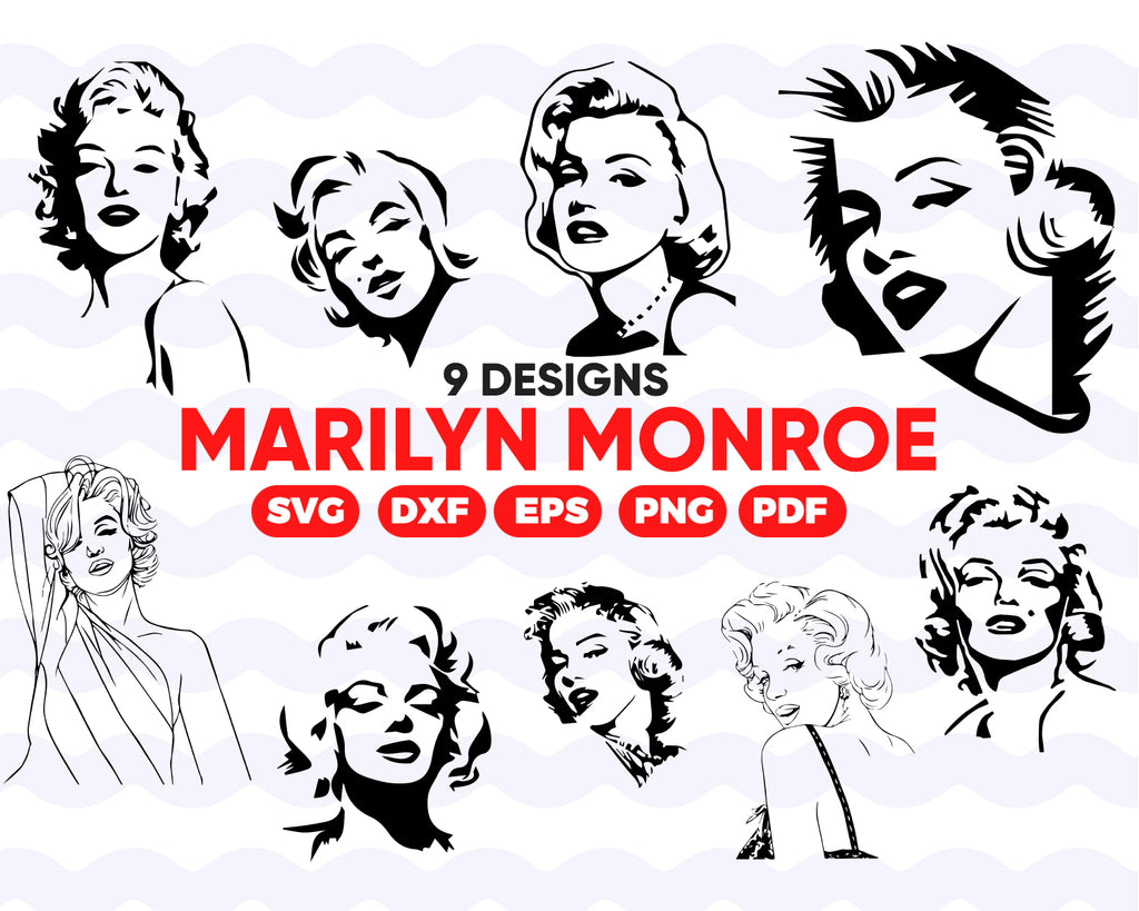 MARILYN MONROE SVG, Marilyn Monroe vector, celebrity svg, celebrity clipart, Marilyn Monroe dxf, celebrity shirt svg, silhouette, instant download