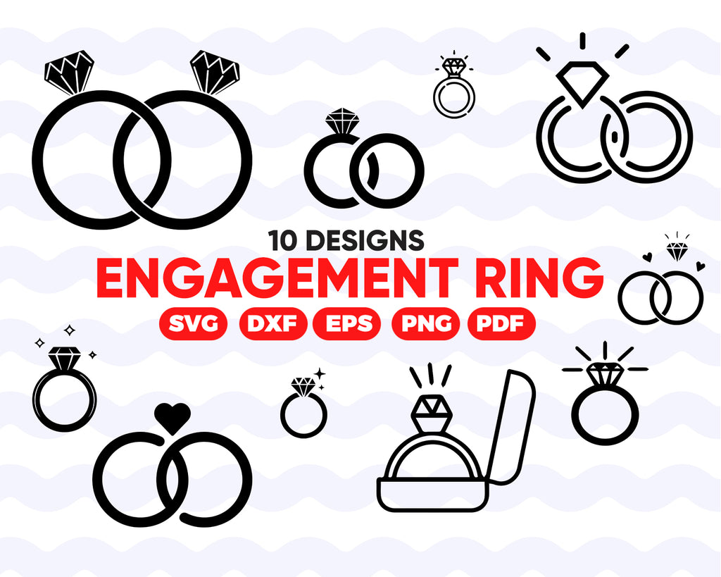 Engagement ring SVG, Diamond Ring Svg - diamond ring svg - diamond ring icon silhouette digital file svg, png, dxf, wedding ring svg bundle