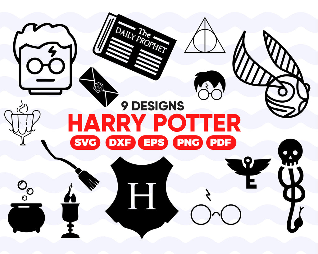 HARRY POTTER SVG, Hogwarts, Symbols, Harry Potter Decoration, Characters, Digital Instant download File for Cricut or Silhouette dxf png eps, vector, clipart, decal, stencil, vinyl, cut file, image silhouette, outline