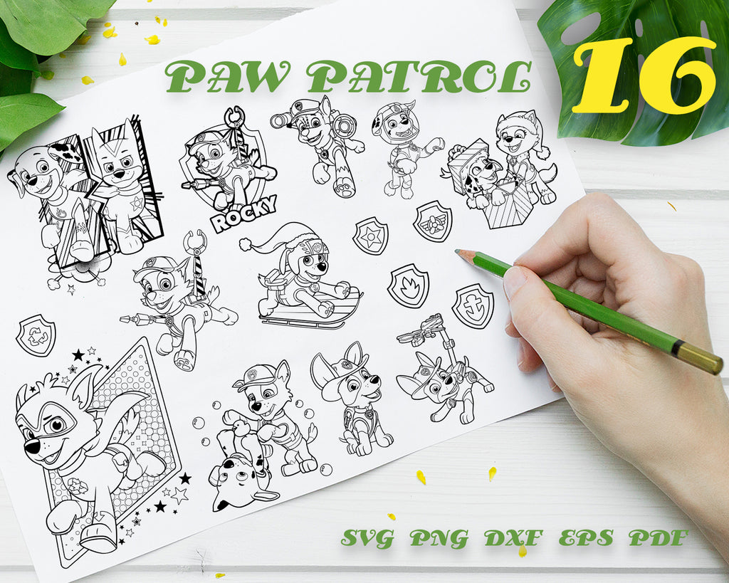 PAW PATROL SVG, Characters, Cartoon, clipart, stencil, file cricut, animals, dog,  cut file, cutting file, vector files - .EPS .DXF .SVG .PNG .PDF, vinyl design, files for crafters, instant download