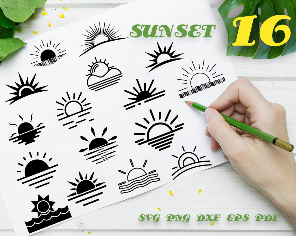 SUNSET SVG, DXF, PNG, EPS, Cut File, vinyl decal, Cricut Design, Silhouette studio, digital instant download