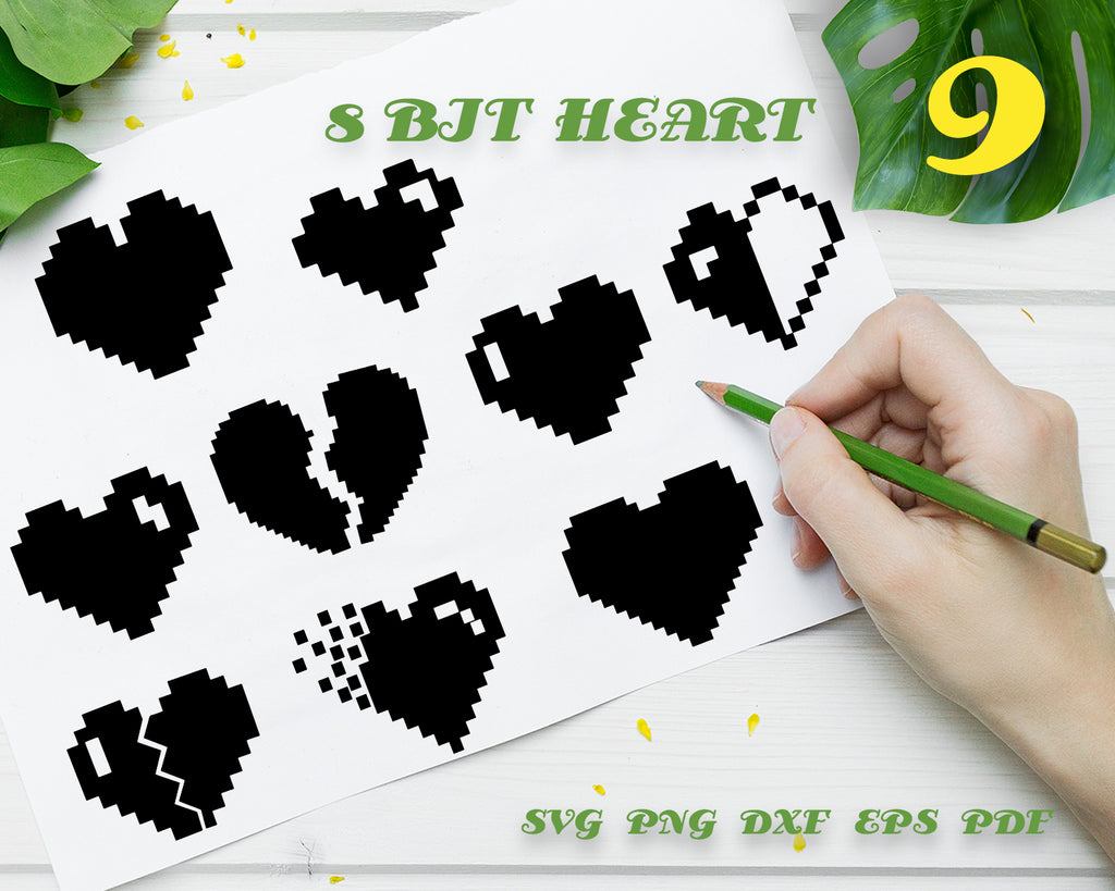 8 BIT HEART SVG, Geek Cutting file, video game svg, 8Bit Heart, SVG for vidogames, 8bit heart dxf, gamer svg, SVG for gamers, video game life, Instant Download