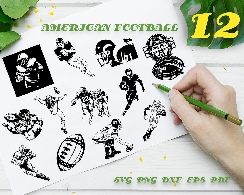 AMERICAN FOOTBALL SVG, football vector, football player svg, football monogram, football clipart, football silhouette, ball svg, sports svg, digital download