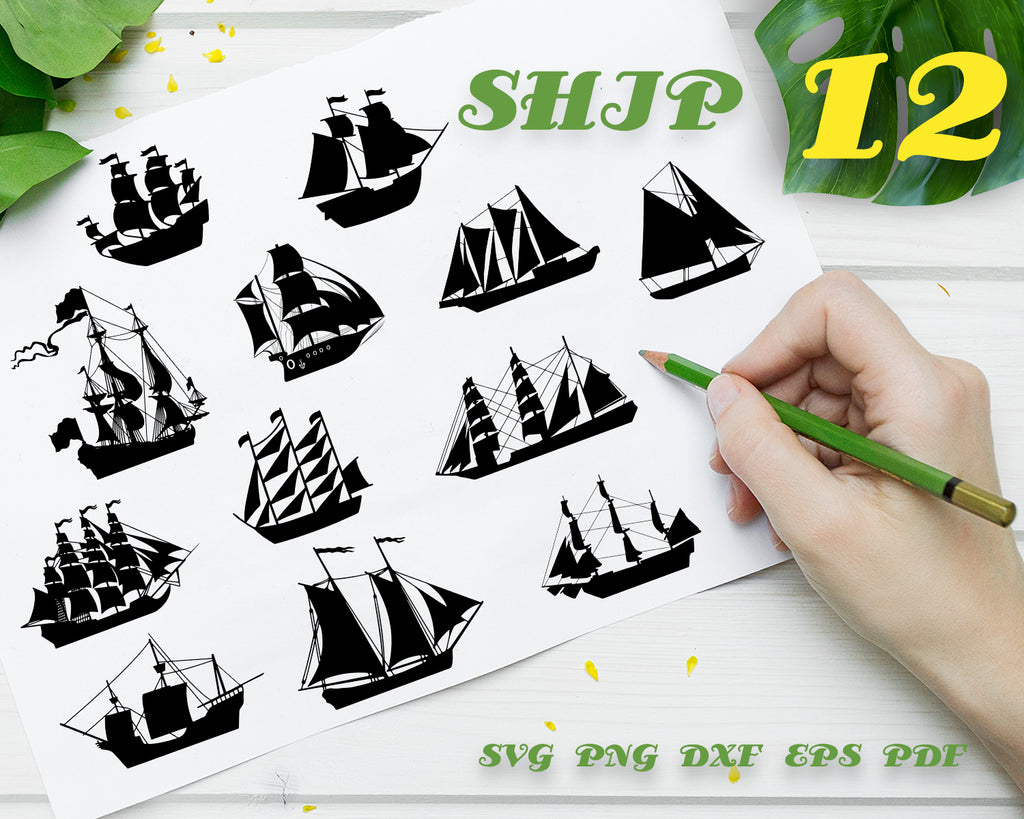 SHIP SVG, Ship Bundle, Ship Vector, Sailing Ships Clipart, Transport, Ship Cut Files For Silhouette, Files for Cricut, Vector, Ships Svg, Dxf, Png, Eps, Digital Design, Instant Download