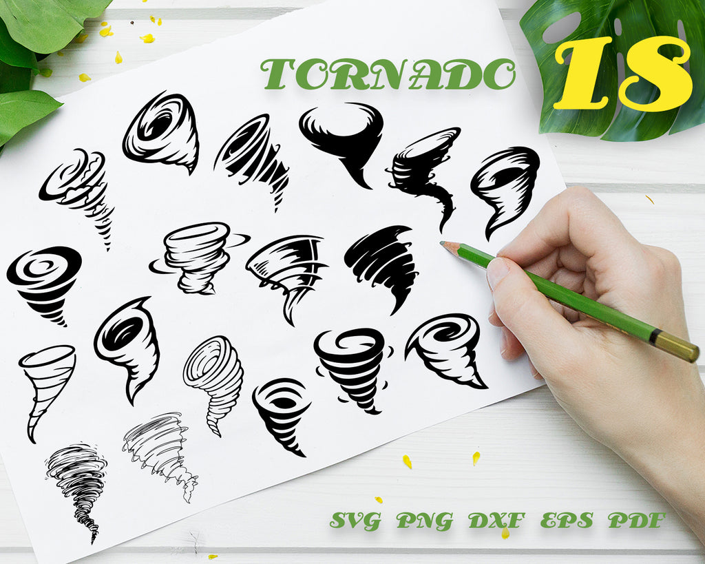 TORNADO SVG, Whirlwind Svg, Twister SVG, Tornado Clipart, Tornado Cut Files For Silhouette, Files for Cricut, Dxf, Png, Eps, Digital Design, Instant Download