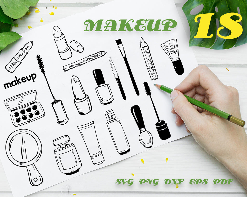 MAKE UP SVG / Makeup brush vector / makeup svg / fashion svg / cosmetic svg / beauty svg / clipart / silhouette / decal / stencil / vinyl / cut file