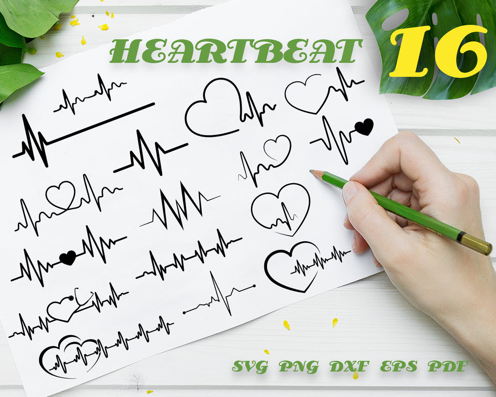HEARTBEAT SVG, heartbeat line clipart, cardiogram svg file cut file for silhouette cameo and cricut svg, png, dxf, eps, vinyl and print