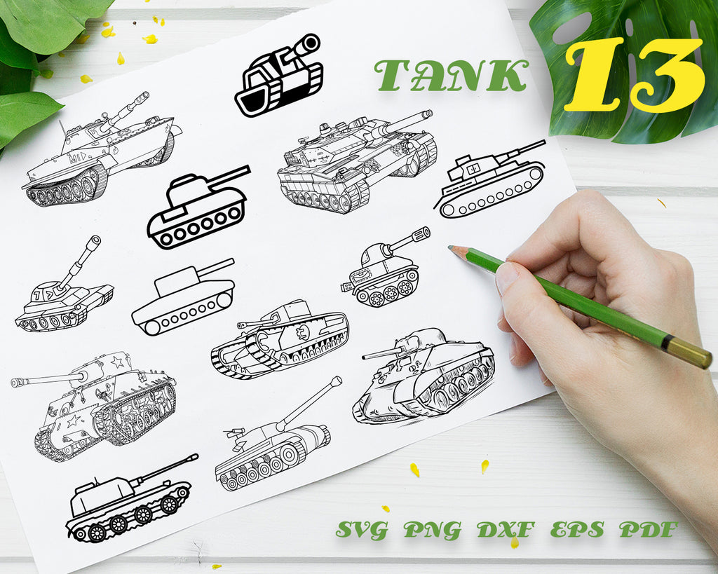 TANK SVG, Military, Army, Tank Clipart, Tank Files for Cricut, War, Transport, Tank Cut Files For Silhouette, Tank Dxf, Png, Eps Vector, Digital Designs, Instant Download