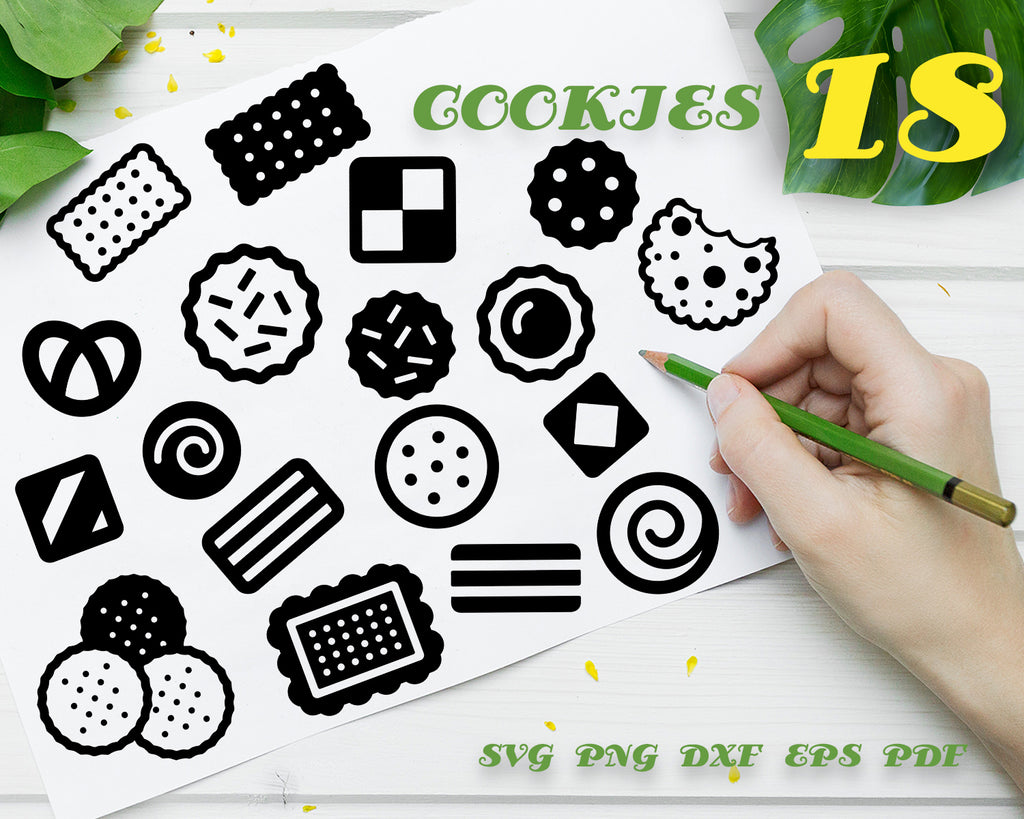 Cookies SVG Cut File, Cookie Clip Art, Hand Drawn SVG Cutting File, Download File, Chocolate Chip Cookies, Vinyl and Print, Instant Download