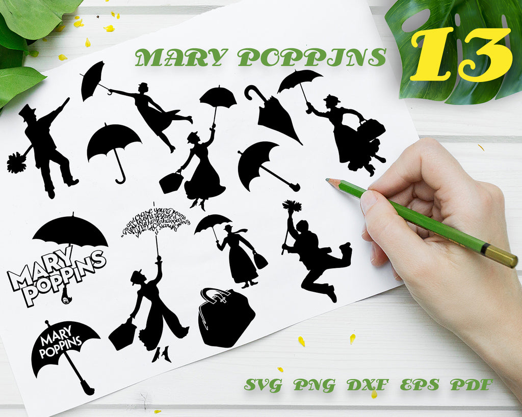 Mary Poppins SVG, Mary Poppins Silhouette, Mary Poppins Clip Art, Mary Poppins Vector, Files For Silhouette Cameo, Cricut, Vinyl Design, Instal Download