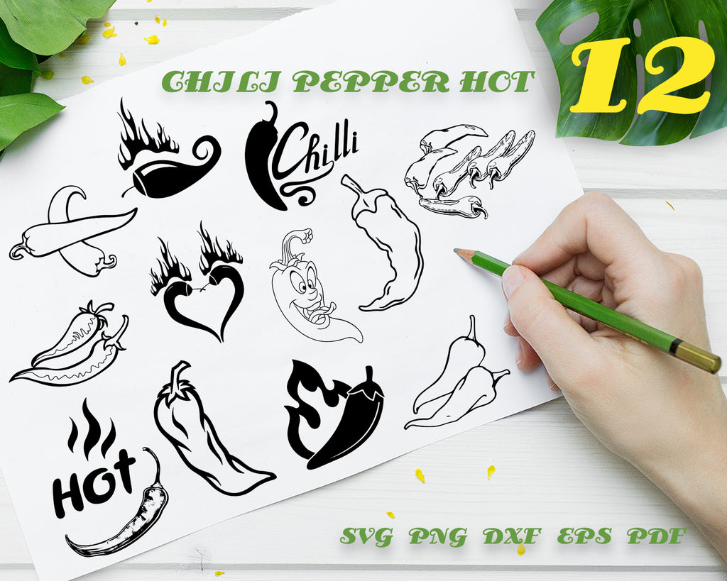 CHILI PEPPER HOT SVG, Hot Pepper Vector, Spicy Svg, Chili Pepper Clipart, Chili Pepper Files for Cricut, Cut Files For Silhouette, Dxf, Png, Eps, Vinyl Design, Instant Download