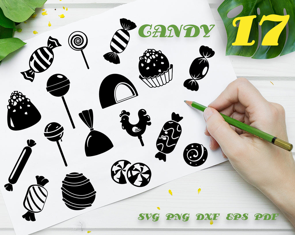 Candy svg, Candy SVG cutting files for Cricut and Silhouette Cameo - Candy png clipart - Candy dxf vector files