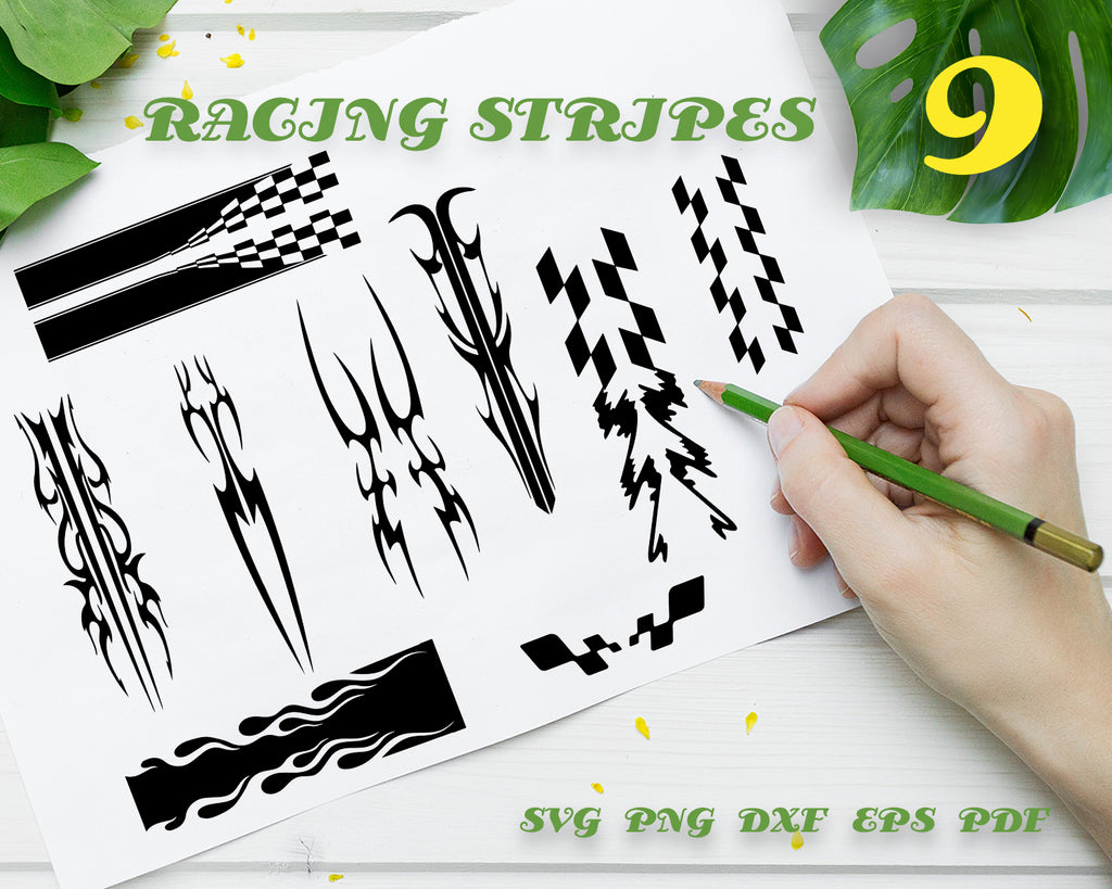 RACING STRIPES SVG, Racing svg Car flag svg Car flag clipart Checkered pattern svg Race flag vector Auto nascar svg Race flag dxf eps, Digital design, Instant Download