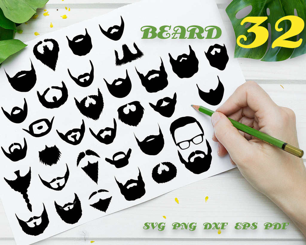 BEARD SVG, long beard svg, beards png, short beard file, hipster beard, beard silhouette, png eps dxf clipart, stencil, decal, cut files