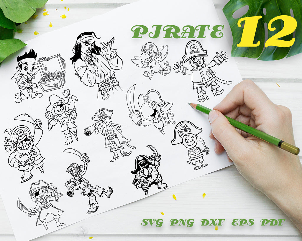 Pirate SVG, Skull Svg, Pirate Clipart, Pirate Files for Cricut, Parrot, Pirate Cut Files For Silhouette, Pirate Dxf, Png, Eps, Vector Design, Instant Download