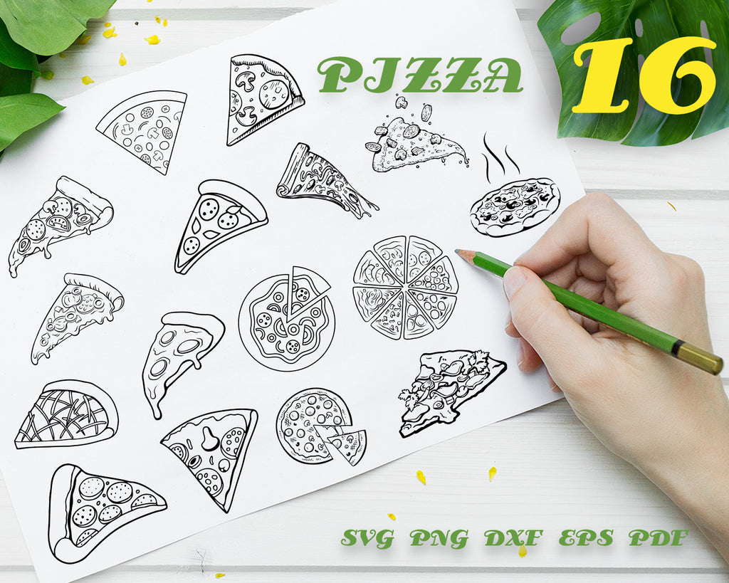 PIZZA SVG / Pepperoni Pizza svg / I Love Pizza svg / Food svg / Cutting files / Silhouette & Cricut / Digital Instant Download