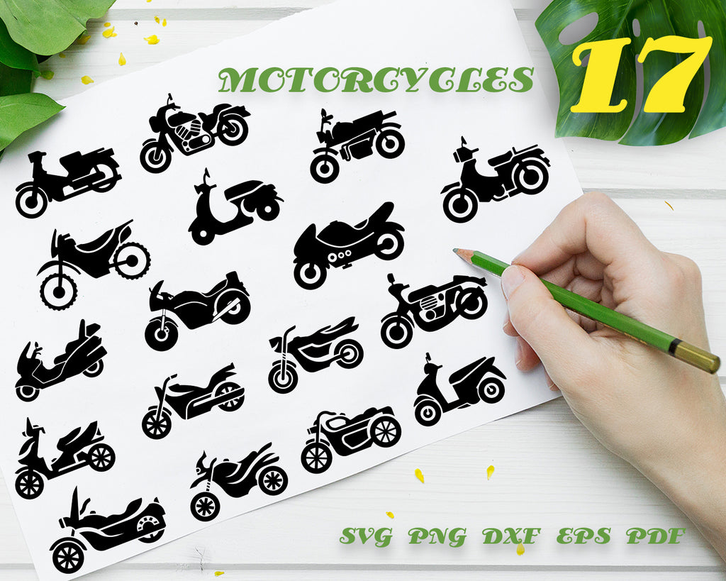 MOTORCYCLES SVG, Motorcycle Vector, Motor Bike Svg, Motorcycle Clipart, Transport, Motorcycle Files for Cricut, Cut Files For Silhouette, Dxf, Png, Eps, Instant Download