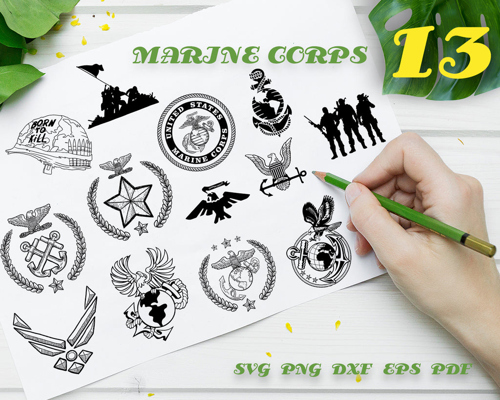 MARINE CORPS SVG, us marine svg, us army svg, veteran svg, army svg, army emblem svg, marine svg, coast guard svg, Vinyl Stencils, outline