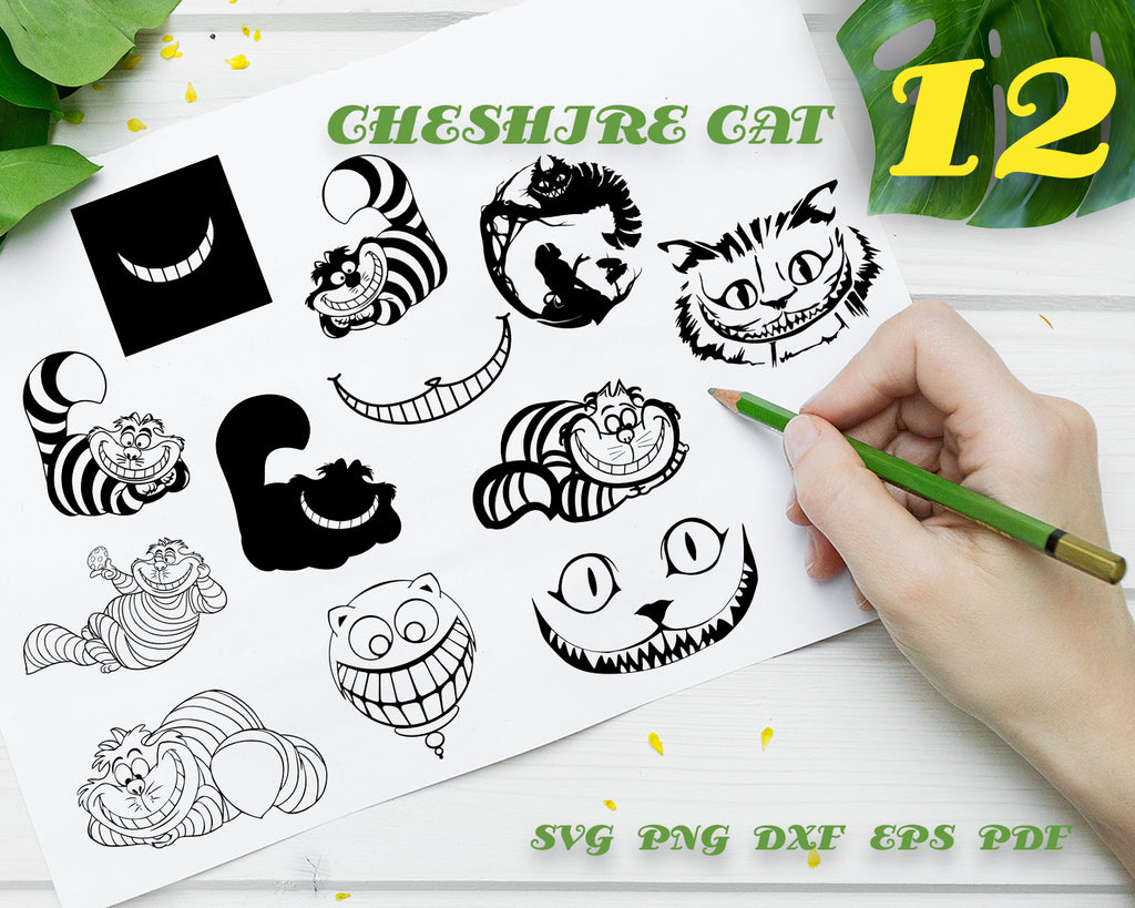 CHESHIRE CAT SVG, clipart, silhouette, stencil, file cricut, cut file, cutting file, vector files - .EPS .DXF .SVG .PNG .PDF, vinyl design, files for crafters, instant download