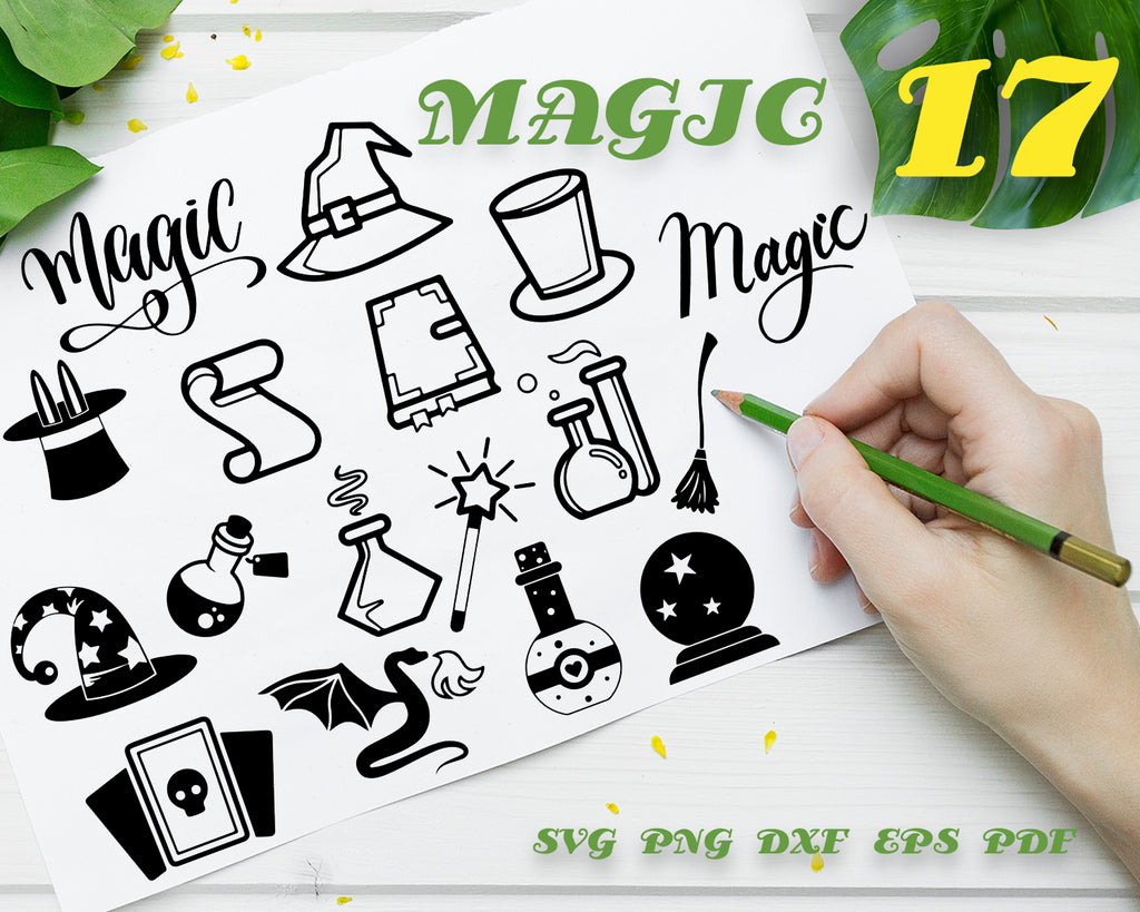 MAGIC SVG, magic, wand, cut file, png, decal, cameo, cricut clipart, silhouette, magicians wand, make a wish, svg, dxf DIGITAL DOWNLOAD