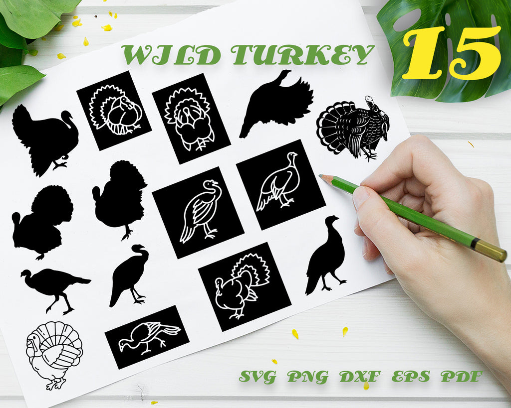 WILD TURKEY SVG, Turkey Svg, Wild Turkey Clipart, Animals, Wild Turkey Files for Cricut, Wild Turkey Cut Files For Silhouette, Dxf, Png, Eps, Vector File, Digital Design