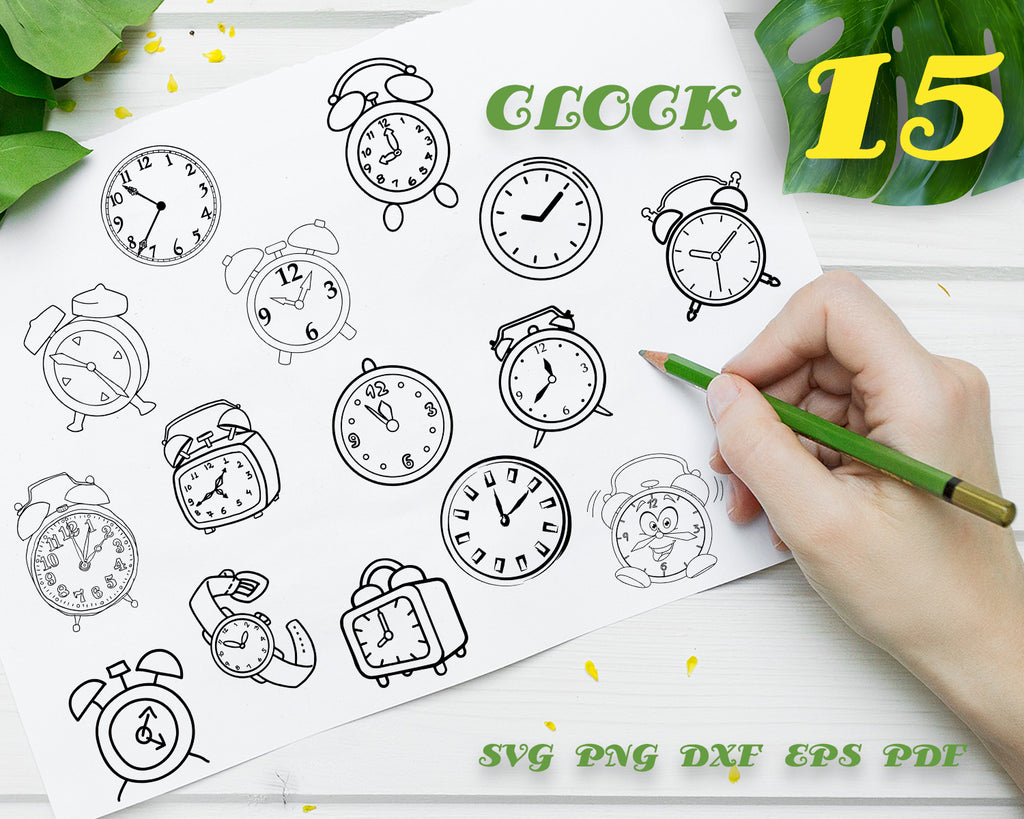 CLOCK SVG, Alarm Clock Bundle, Alarm Clock SVG, Alarm Clock Clipart, Cut Files For Silhouette, Files for Cricut, Vector, Svg, Dxf, Png, Eps, Vinyl Design