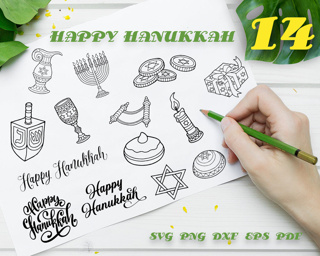 HAPPY HANUKKAH SVG and Cut Files for Crafters, vector, clipart, decal, stencil, vinyl, cut file, image silhouette, outline, eps, dxf, png, instant download
