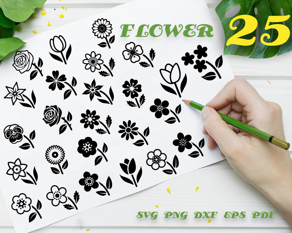 Flower SVG Files, Flower Border SVG, Floral SVG files, Flower cut file, Flower Corner, Flower Flourish, Bundle, Floral, Floral Cut file