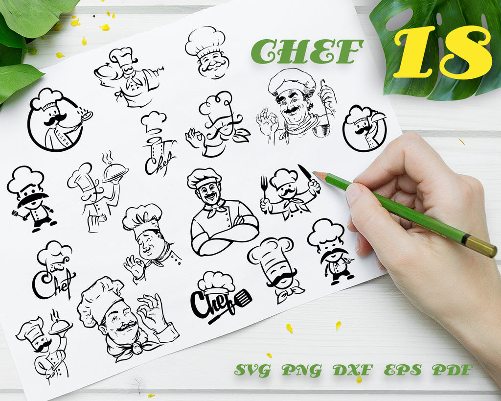 CHEF SVG, Chef Logo, Chef Vector, Cook Svg, Chef Clipart, Chef Files for Cricut, Chef Cut Files For Silhouette, Chef Dxf, Chef Png, Eps, Vinyl Design, Chef Vector