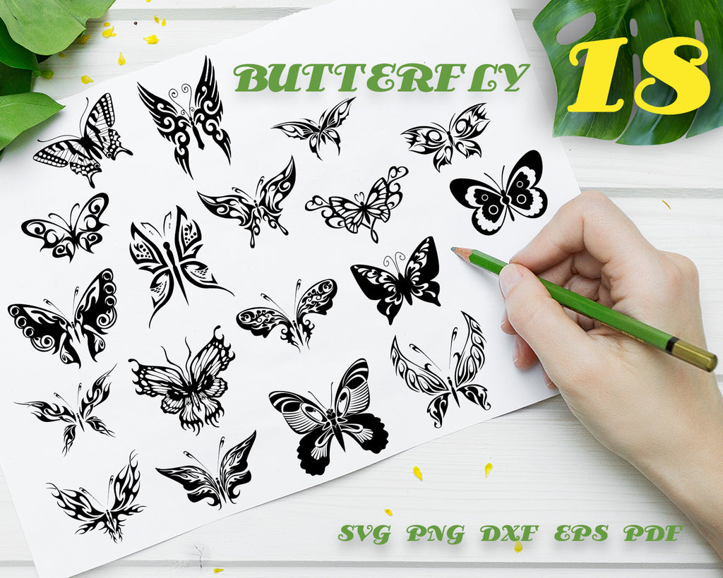 Butterfly svg,  Butterfly svg cut files - flower cricut files - Butterfly silhouette - Butterfly clipart files - svg, dxf, eps, png