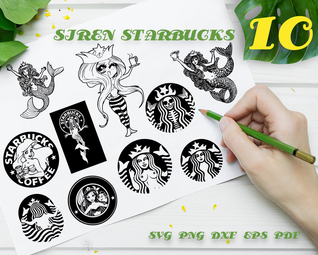 SIREN STARBUCKS SVG DXF Png Vector Cut File Cricut Design Silhouette Cameo Vinyl Decal Party Stencil Template Heat Transfer Decoration Digital Design Instant Download