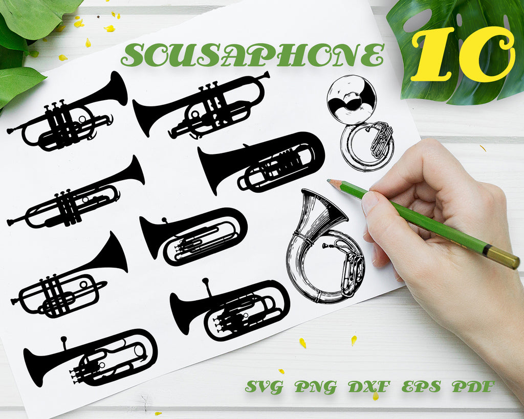 SOUSAPHONE SVG, Sousaphone Outline, Sousaphone Vector, Sousaphone Clipart, Sousaphone Files for Cricut, Music, Sousaphone Cut Files For Silhouette, Dxf, Png, Eps, Digital Design, Instant Download