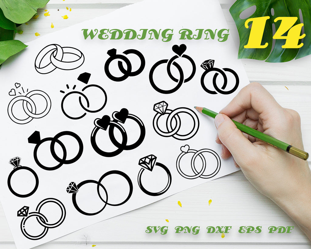 WEDDING RING SVG, Engagement Ring SVG Bundle, Diamond Ring SVG, Clipart, Cut Files For Silhouette, Files for Cricut, Vector, Wedding Ring Svg, Png, Pdf, Digital Design