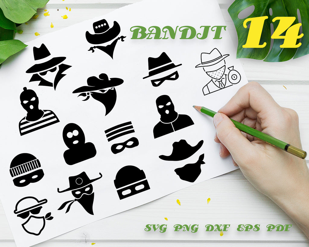 Bandit SVG, Western Svg, Criminal Svg, Bandit Clipart, Bandit Files for Cricut, Bandit Cut Files For Silhouette, Bandit Dxf, Png, Eps, Svg