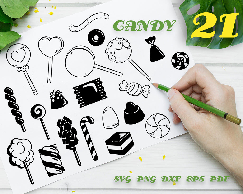 Candy svg,Candy SVG cutting files for Cricut and Silhouette Cameo - Candy png clipart - Candy dxf vector files