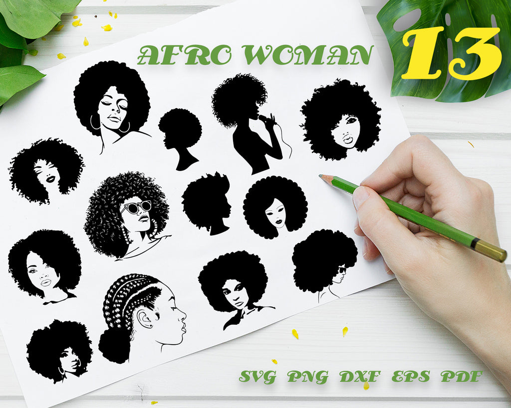 AFRO WOMAN SVG, Afro Woman vector, afro girl svg, afro svg, black woman svg, funky woman svg, curly hair svg, african svg, african woman svg, african girl svg